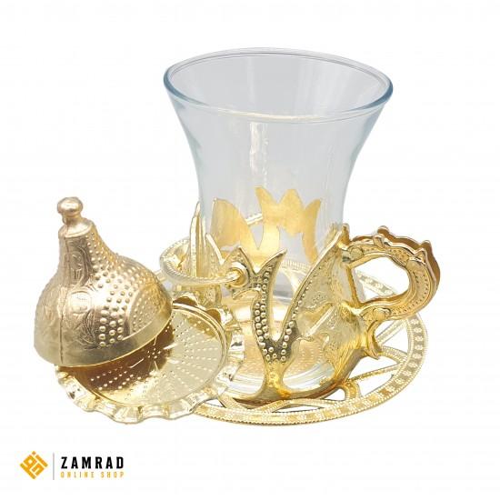 كاسات شاي تركي مع صينية - دهبي