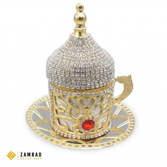 فناجين قهوة تركي مع صينية و سكرية - دهبي مرصعة بالالماس