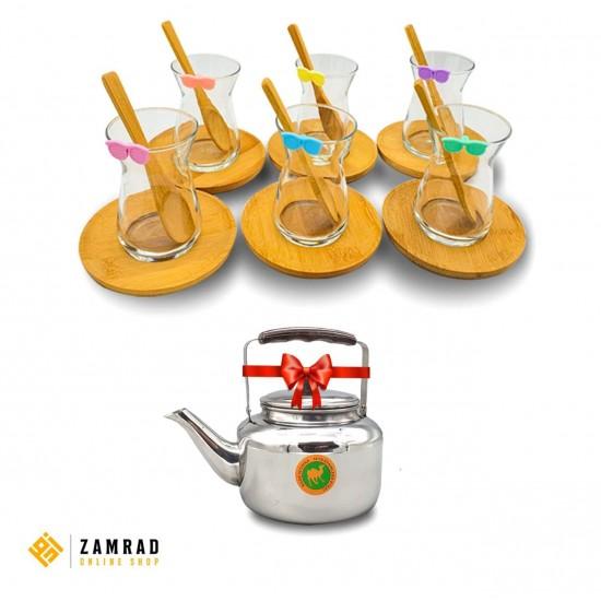 كاسات شاي مع تباسي خشب مع ابريق شاي مجانا - 6 قطع